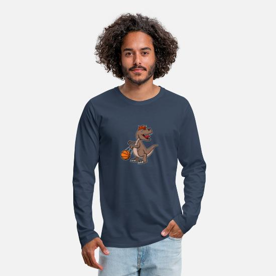 Birthday Long Sleeve Shirts - Cute Dinosaur Basketball Christmas Gift Birthday - Men's Premium Longsleeve Shirt navy