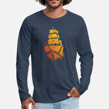Pirate ship red yellow - Men's Premium Longsleeve Shirt