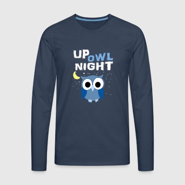 Up Owl Night Owl Lune Nocturne Bird Lover Funny - T-shirt manches longues Premium Homme
