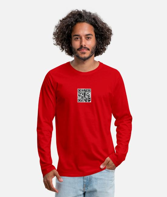 Rick Rolled Long-Sleeved Shirts - Rick Rolling QR Code - Men's Premium Longsleeve Shirt red