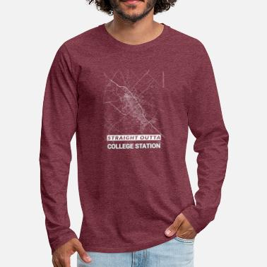Not Perfect Straight Outta College Station city map - Men's Premium Longsleeve Shirt