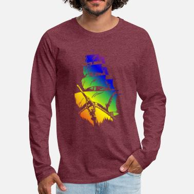Pirate Ship in LGBT flag - Men's Premium Longsleeve Shirt