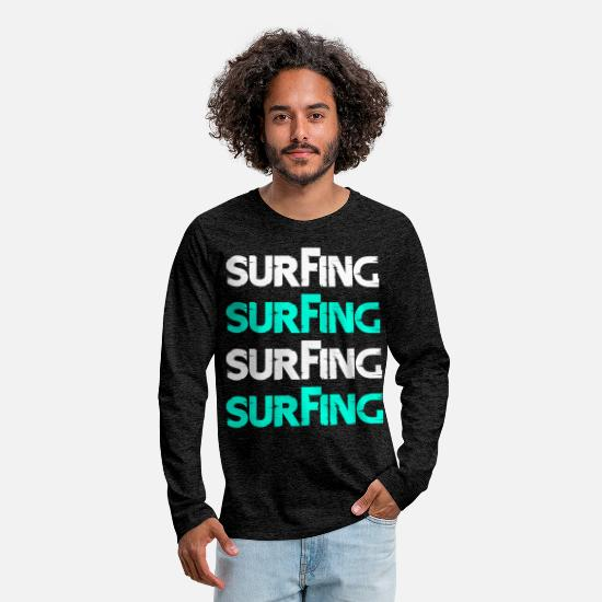 Surfer Long Sleeve Shirts - Surfing white blue - Men's Premium Longsleeve Shirt charcoal grey