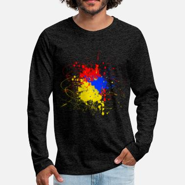 Blue Color blob yellow blue red - Men's Premium Longsleeve Shirt