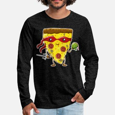 Birthday Ninja Pizza eats turtle - Men's Premium Longsleeve Shirt