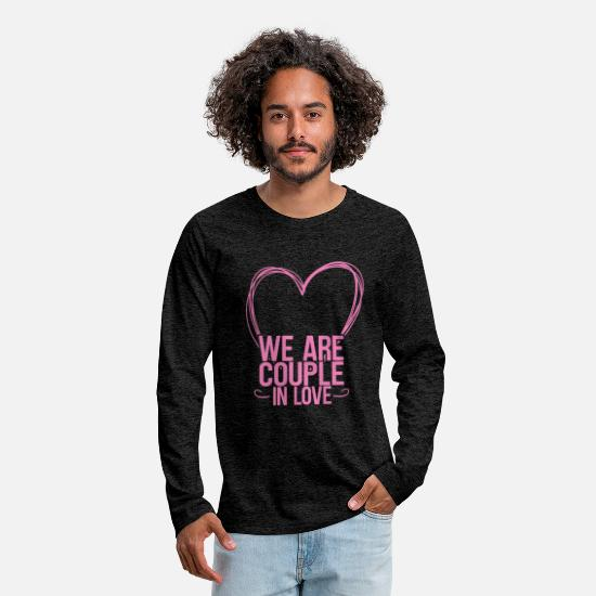 Couples Long sleeve shirts - Couple of couples love - Men's Premium Longsleeve Shirt charcoal grey