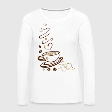 Coffee Cup with coffee beans and hearts. - Women's Premium Longsleeve Shirt