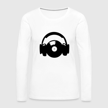 Headphones and vinyl record - Camiseta de manga larga premium mujer