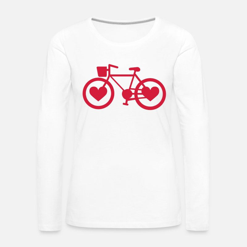 Love Long Sleeve Shirts - Bike Heart - Women's Premium Longsleeve Shirt white