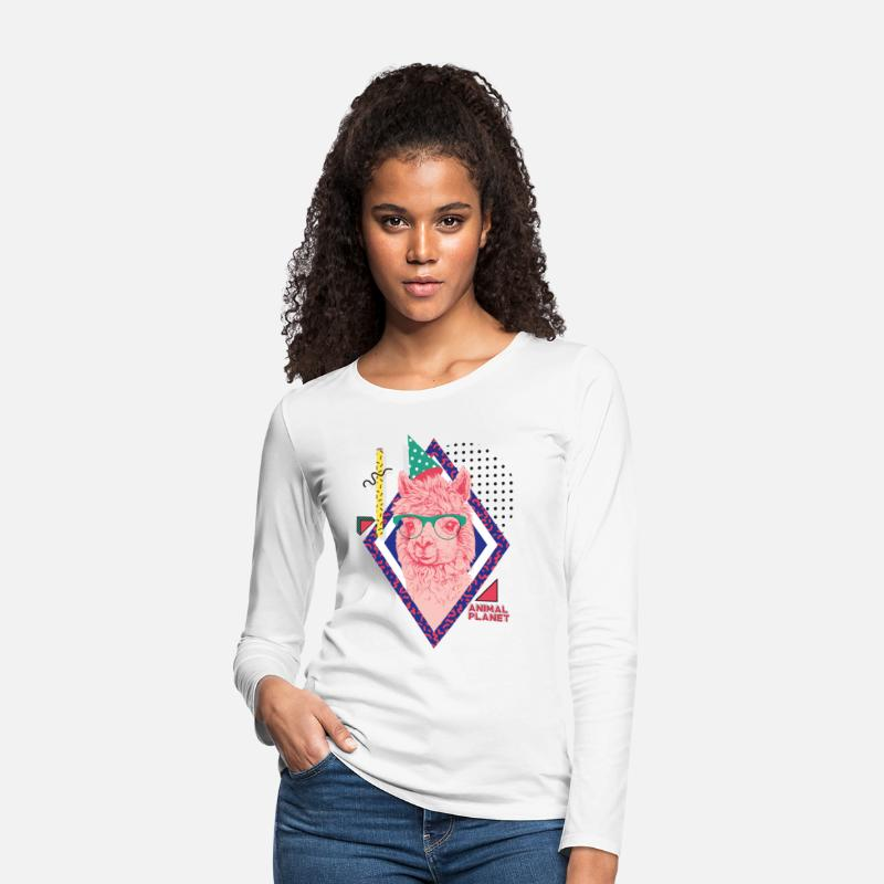Officialbrands Long sleeve shirts - Animal Planet Funny Birthday Llama - Women's Premium Longsleeve Shirt white