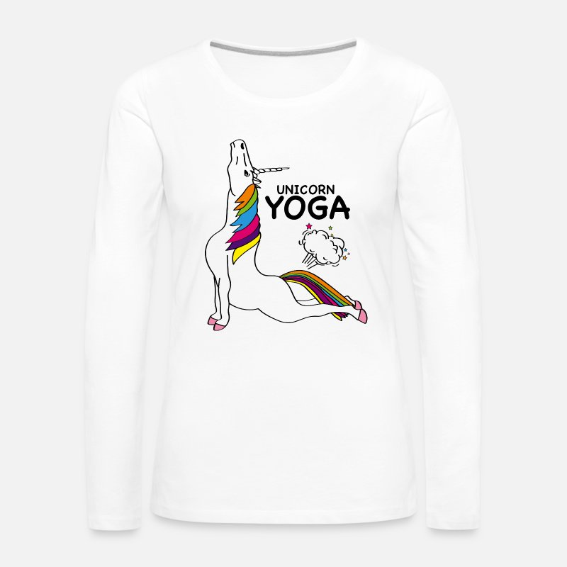 Unicorn Long Sleeve Shirts - UNICORN YOGA - COBRA POSITION - Women's Premium Longsleeve Shirt white