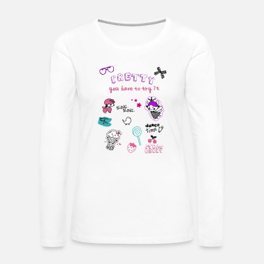 badges labels aufnäher cute pretty girl pink littl - Frauen Premium Langarmshirt