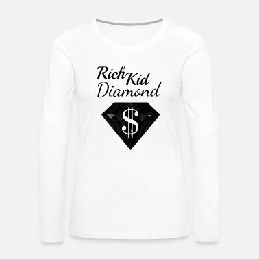 Wealthy Diamond Dollar Sign Rich Black Wealthy - Women's Premium Longsleeve Shirt