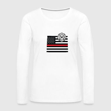 Wyoming Wyoming Firefighter Shield Thin Red Line Flag - Maglietta Premium a manica lunga da donna