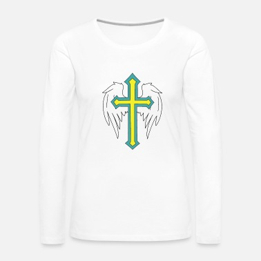 Horror Angel wings with cross drawing - Women's Premium Longsleeve Shirt