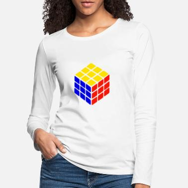 Cube blue yellow red rubik's cube print - Women's Premium Longsleeve Shirt