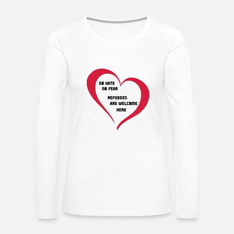 Welcome Long Sleeve Shirts - Refugees Welcome - Women's Premium Longsleeve Shirt white