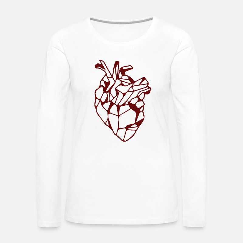 Geometric Long Sleeve Shirts - Red Geometric Heart - Women's Premium Longsleeve Shirt white