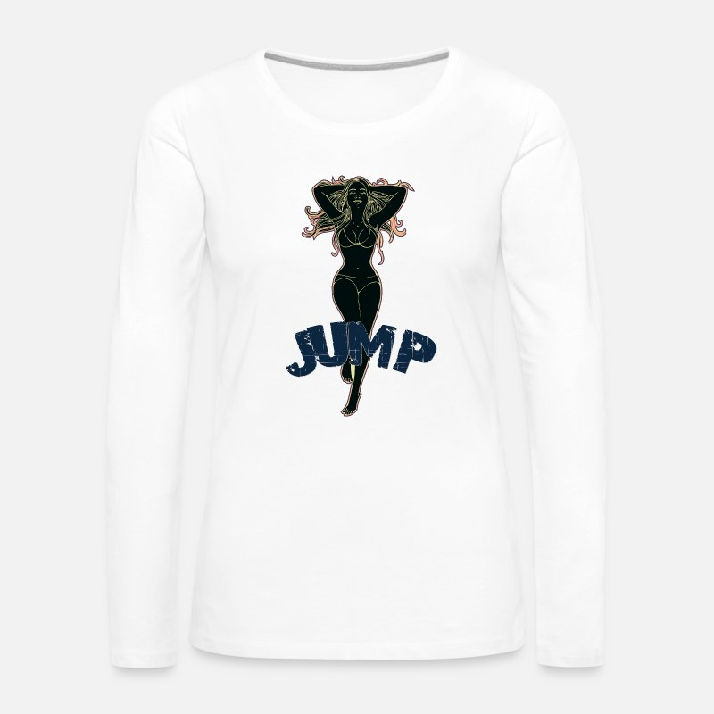 Sexy Mum Long Sleeve Shirts - Big tits girl jumping black - Women's Premium Longsleeve Shirt white