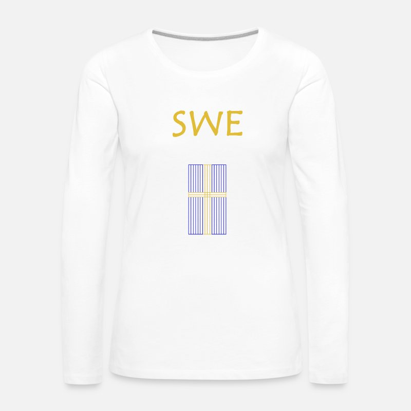 Sweden Long Sleeve Shirts - Sweden Gold Line - Women's Premium Longsleeve Shirt white