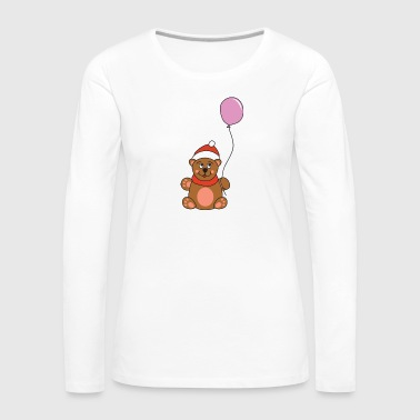Merry Christmas Cute Teddy Bear Balloon Christmas Xmas - Women's Premium Longsleeve Shirt