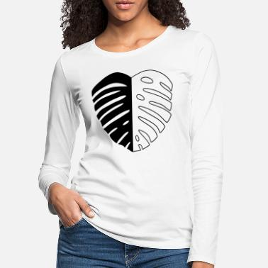 Monstera Leaf Monstera Leaf Black - Frauen Premium Langarmshirt