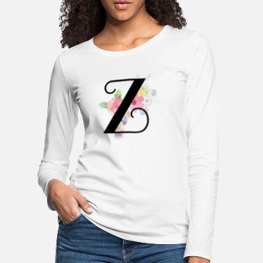 Watercolour Monogram Letter Z with Pastel Flowers - Women's Premium Longsleeve Shirt