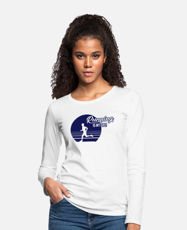 Speed Long-Sleeved Shirts - Running is my Life! - Women's Premium Longsleeve Shirt white