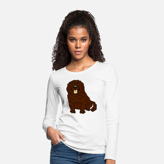 Small Long sleeve shirts - sweet little brown sitting dog - Women's Premium Longsleeve Shirt white