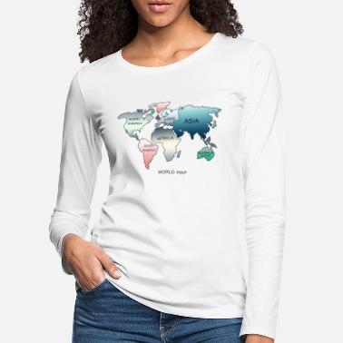 World Map World Map, World Map - Women's Premium Longsleeve Shirt