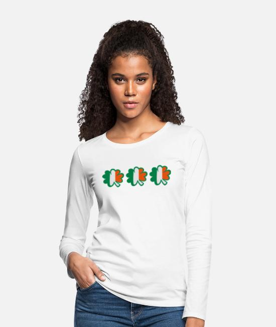 Best Awesome Superb Cool Amazing Identity Ethnicity Race People Language Country Design Long-Sleeved Shirts - ♥ټ☘Kiss the Irish Shamrocks to Get Lucky☘ټ♥ - Women's Premium Longsleeve Shirt white