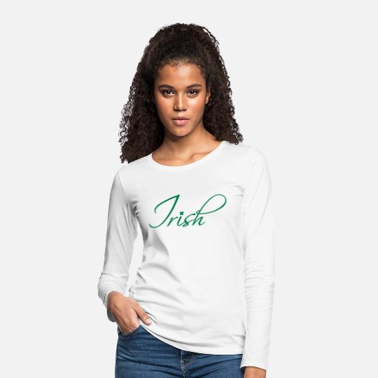 Shamrock Long sleeve shirts - Irish Calligraphy - Women's Premium Longsleeve Shirt white