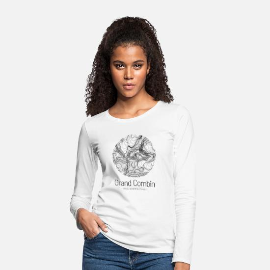 Mountains Long Sleeve Shirts - Grand Combin | Map topography design - Women's Premium Longsleeve Shirt white