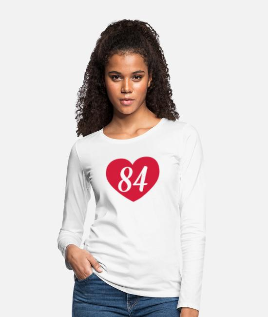 Heart Long-Sleeved Shirts - 84th birthday heart - Women's Premium Longsleeve Shirt white