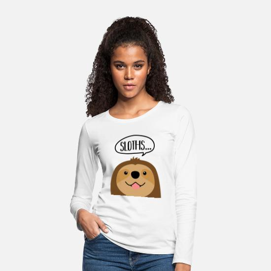 Occasion Long Sleeve Shirts - Sloth head with speech bubble - Women's Premium Longsleeve Shirt white