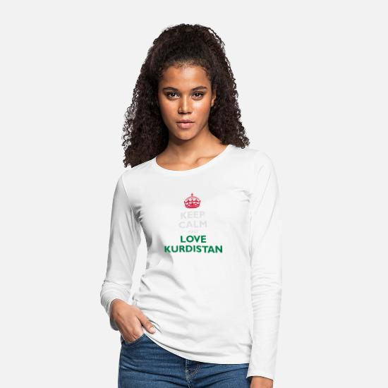 Flag Long sleeve shirts - Keep Calm&Love Kurdistan - Women's Premium Longsleeve Shirt white
