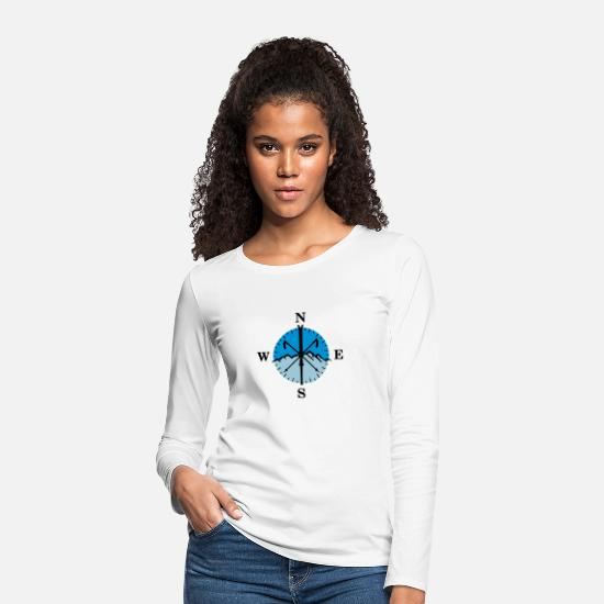 Orientation Long sleeve shirts - Skiing, skis, mountains and compass with degrees - Women's Premium Longsleeve Shirt white