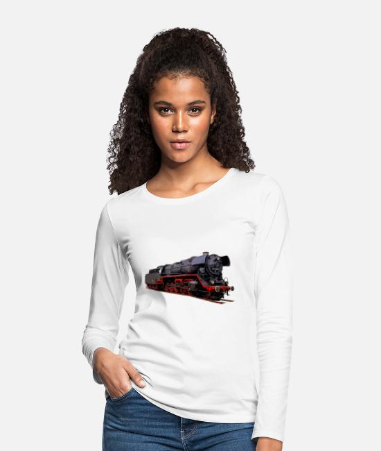Steam Engine Long sleeve shirts - Steam locomotive BR 44 1486 - Women's Premium Longsleeve Shirt white