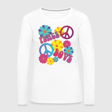 058 - love peace hippie flower power - Frauen Premium Langarmshirt