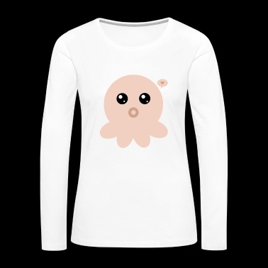 Orange Kawaii Octopus - Women's Premium Longsleeve Shirt