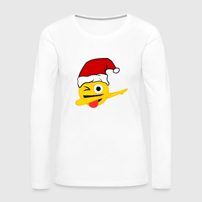 Dabbing Face With Stuck-Out Tongue Emoji Santa - Women's Premium Longsleeve Shirt