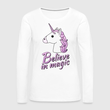 Unicorn head with text Believe in magic in lilac - Women's Premium Longsleeve Shirt
