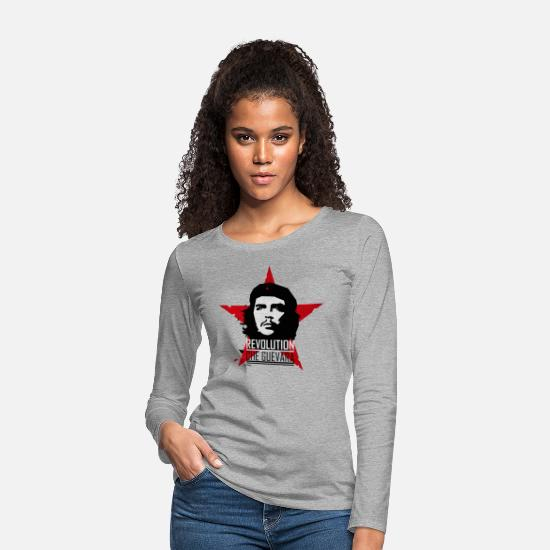 Che Manches longues - Che Guevara Revolution Tee shirt manches longues F - T-shirt manches longues premium Femme gris chiné