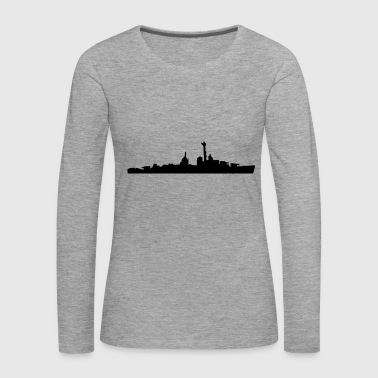 Vector Navy warship Silhouette - T-shirt manches longues Premium Femme
