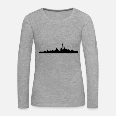 Navy Vector Navy warship Silhouette - T-shirt manches longues Premium Femme
