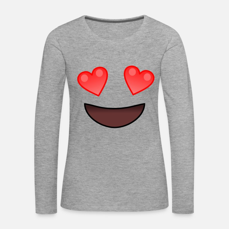 Love Long Sleeve Shirts - Smiling With Heart Eyes Face - Women's Premium Longsleeve Shirt heather grey