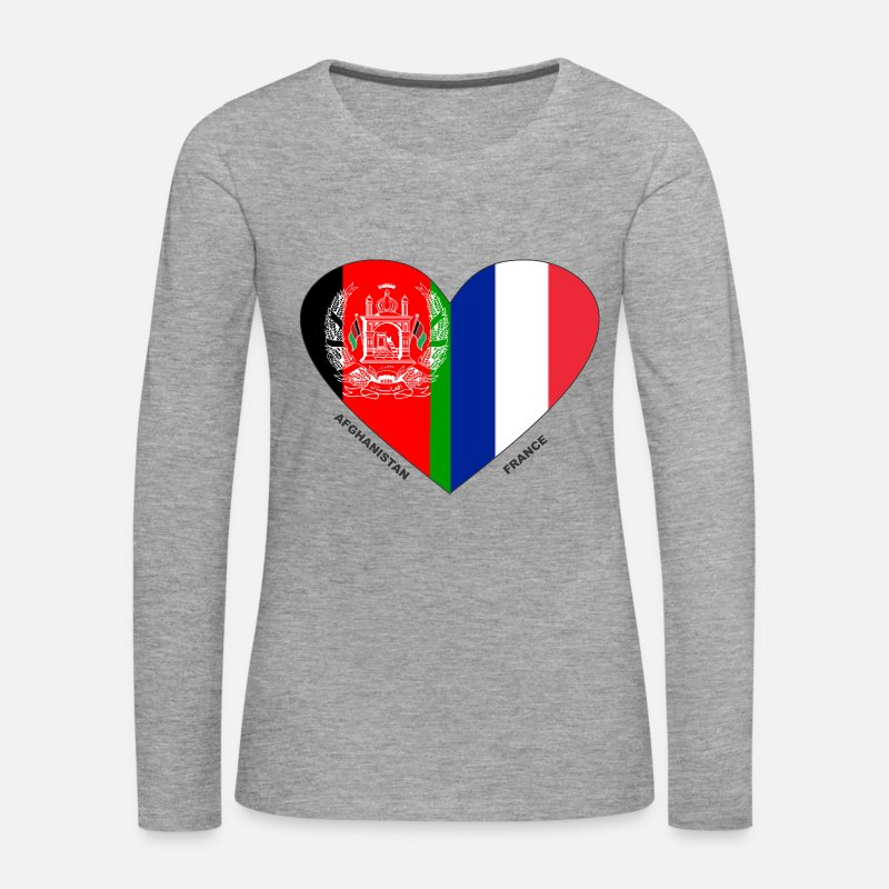 Afghanistan Long Sleeve Shirts - Afghanistan France Friendship Flags - Women's Premium Longsleeve Shirt heather grey