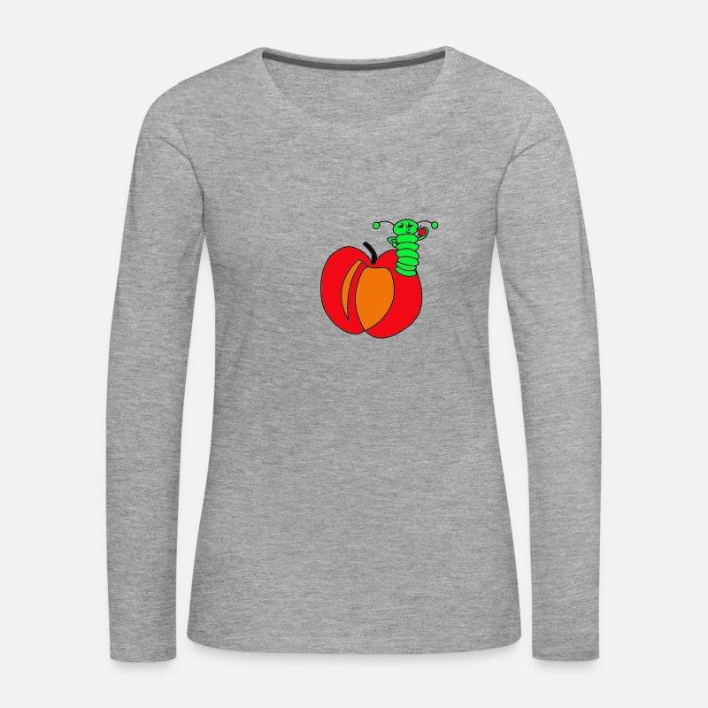 Apple, ver T shirt manches longues Premium Femme gris chiné