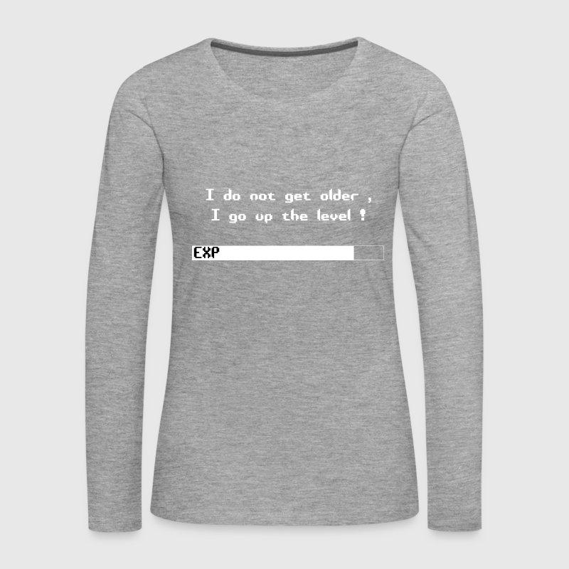 livel Dame premium T shirt med lange ærmer grå meleret