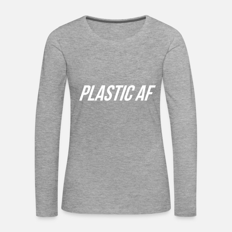 Squat Long Sleeve Shirts - Plastic AF Logo - Women's Premium Longsleeve Shirt heather grey